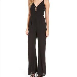 ASTR THE LABEL Lace Trim Lace Up Black Jumpsuit